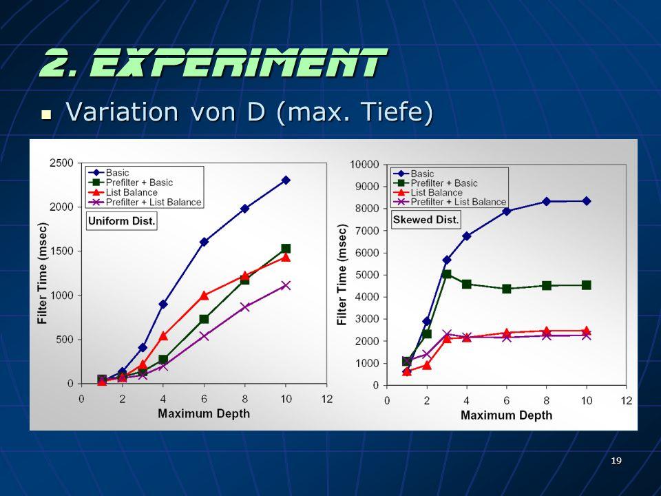 19 2. Experiment Variation von D (max. Tiefe) Variation von D (max. Tiefe)