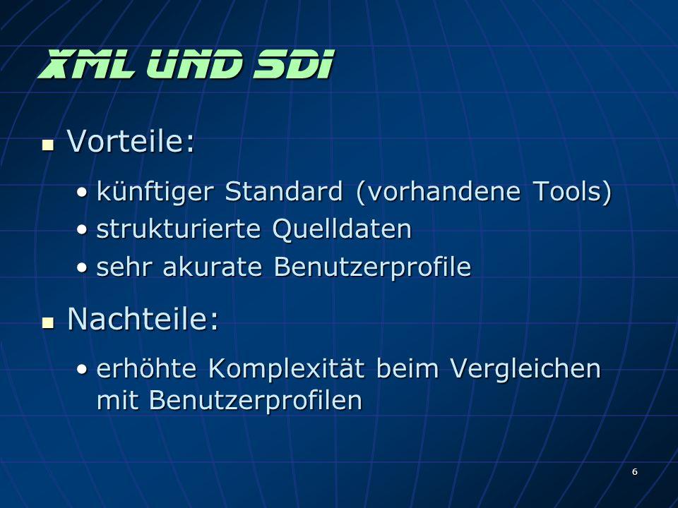 6 XMl und SDI Vorteile: Vorteile: künftiger Standard (vorhandene Tools)künftiger Standard (vorhandene Tools) strukturierte Quelldatenstrukturierte Quelldaten sehr akurate Benutzerprofilesehr akurate Benutzerprofile Nachteile: Nachteile: erhöhte Komplexität beim Vergleichen mit Benutzerprofilenerhöhte Komplexität beim Vergleichen mit Benutzerprofilen