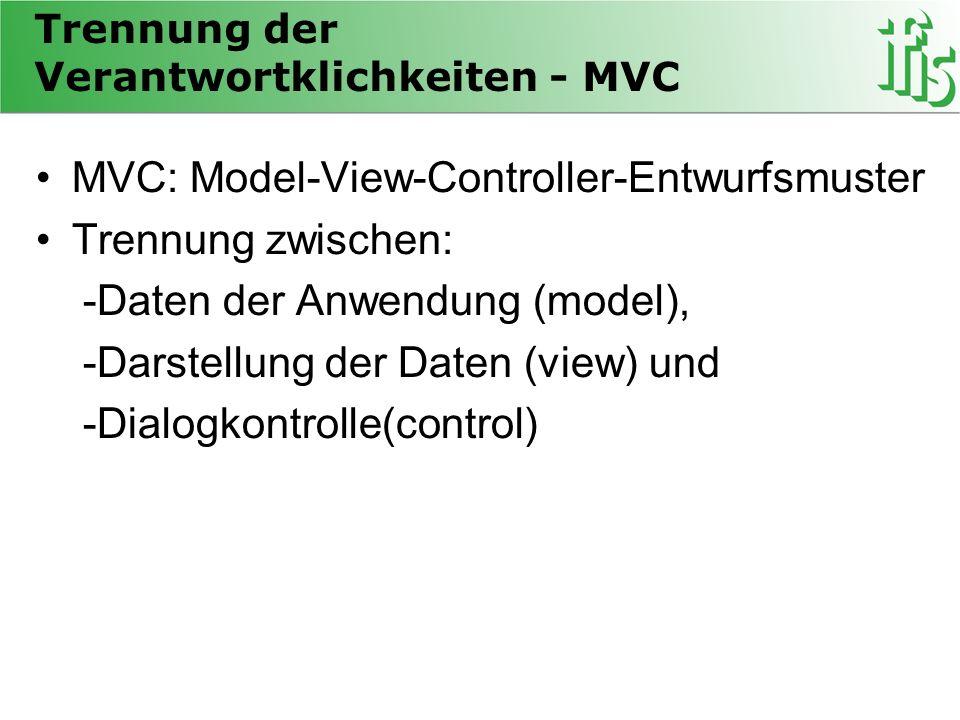 Trennung der Verantwortklichkeiten - MVC MVC: Model-View-Controller-Entwurfsmuster Trennung zwischen: -Daten der Anwendung (model), -Darstellung der Daten (view) und -Dialogkontrolle(control)