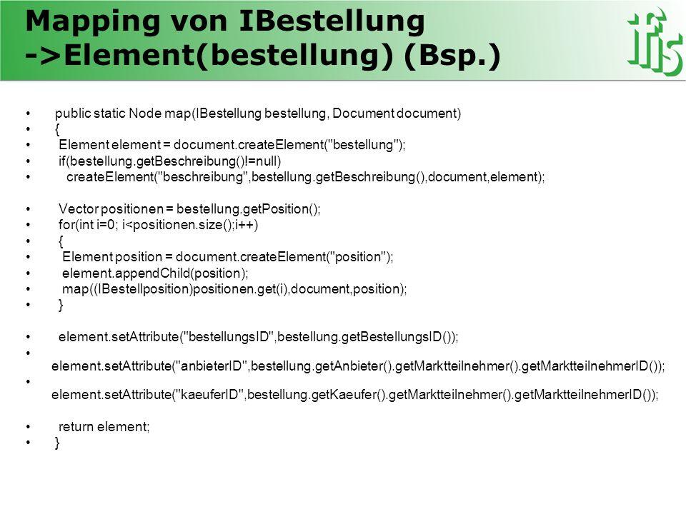 Mapping von IBestellung ->Element(bestellung) (Bsp.) public static Node map(IBestellung bestellung, Document document) { Element element = document.cr