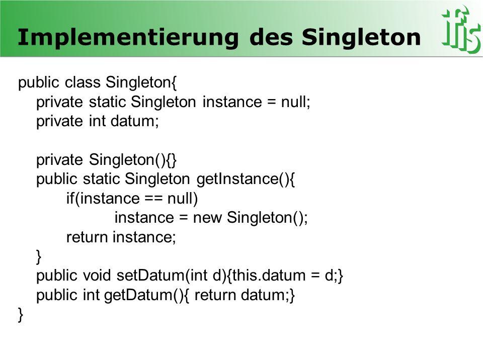 Mapping von IBestellung ->Element(bestellung) (Bsp.) public static Node map(IBestellung bestellung, Document document) { Element element = document.createElement( bestellung ); if(bestellung.getBeschreibung()!=null) createElement( beschreibung ,bestellung.getBeschreibung(),document,element); Vector positionen = bestellung.getPosition(); for(int i=0; i<positionen.size();i++) { Element position = document.createElement( position ); element.appendChild(position); map((IBestellposition)positionen.get(i),document,position); } element.setAttribute( bestellungsID ,bestellung.getBestellungsID()); element.setAttribute( anbieterID ,bestellung.getAnbieter().getMarktteilnehmer().getMarktteilnehmerID()); element.setAttribute( kaeuferID ,bestellung.getKaeufer().getMarktteilnehmer().getMarktteilnehmerID()); return element; }