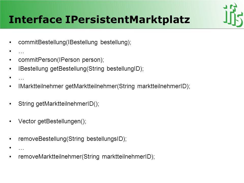 Interface IPersistentMarktplatz commitBestellung(IBestellung bestellung); … commitPerson(IPerson person); IBestellung getBestellung(String bestellungI