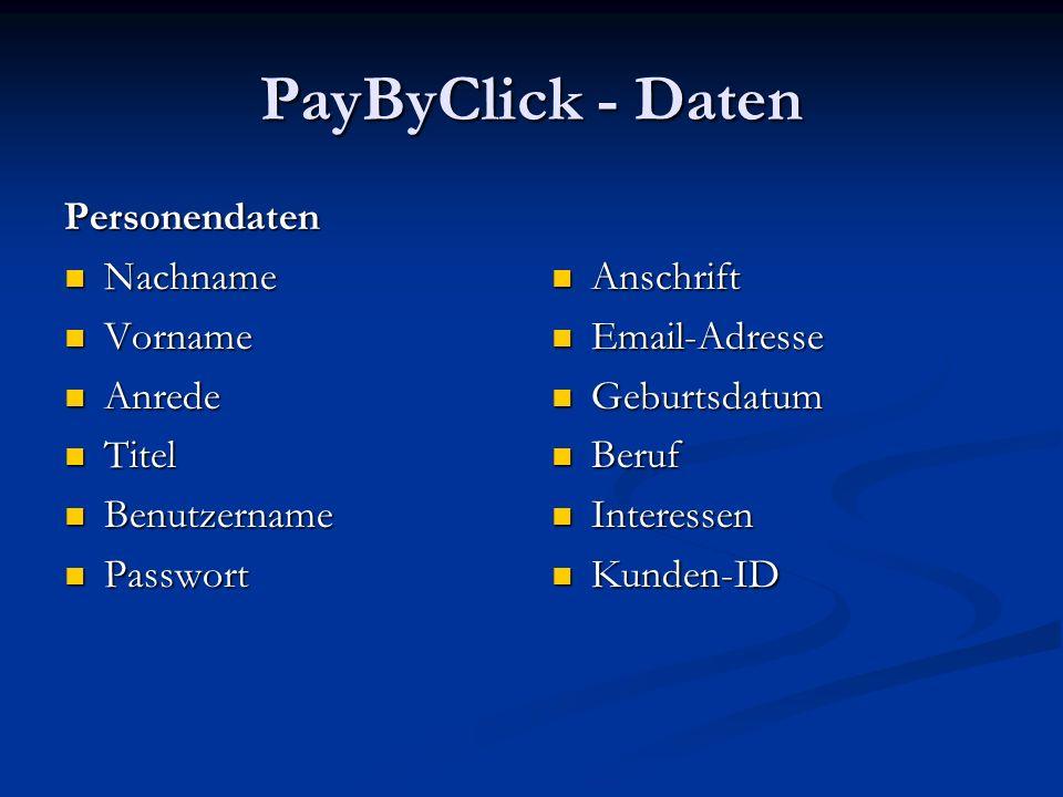 PayByClick - Daten Personendaten Nachname Nachname Vorname Vorname Anrede Anrede Titel Titel Benutzername Benutzername Passwort Passwort Anschrift Ema