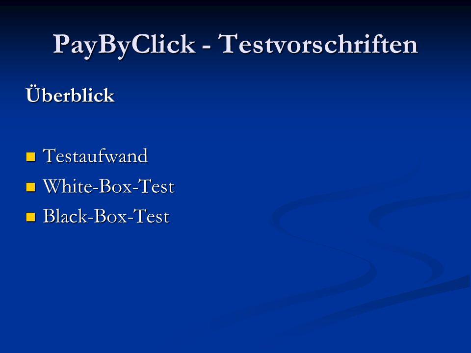 PayByClick - Testvorschriften Aufwand Bis zu 40% des Gesamtaufwands REGEL Entwurf/Realisierung/Test -> 40/20/40 Bis zu 40% des Gesamtaufwands REGEL Entwurf/Realisierung/Test -> 40/20/40 Bei Sicherheitskritischer SW: 3 bis 5 mal Entwurf/Realisierung Bei Sicherheitskritischer SW: 3 bis 5 mal Entwurf/Realisierung