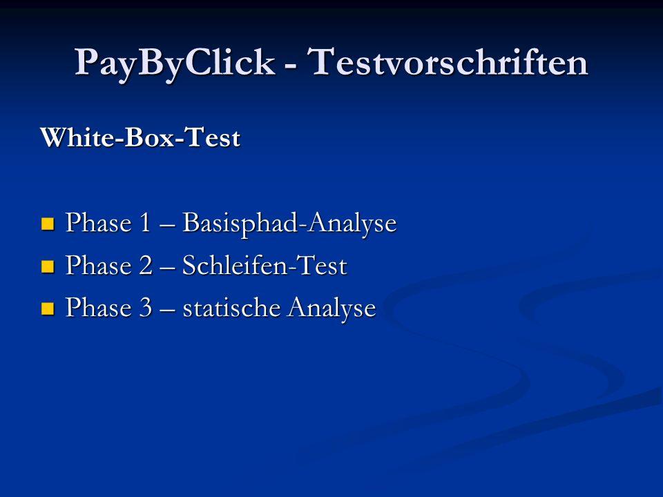 PayByClick - Testvorschriften Black-Box-Test Fehlende Funktionalität Fehlende Funktionalität Performance Performance Daten und Ereignisse Daten und Ereignisse Benutzerschnittstelle Benutzerschnittstelle