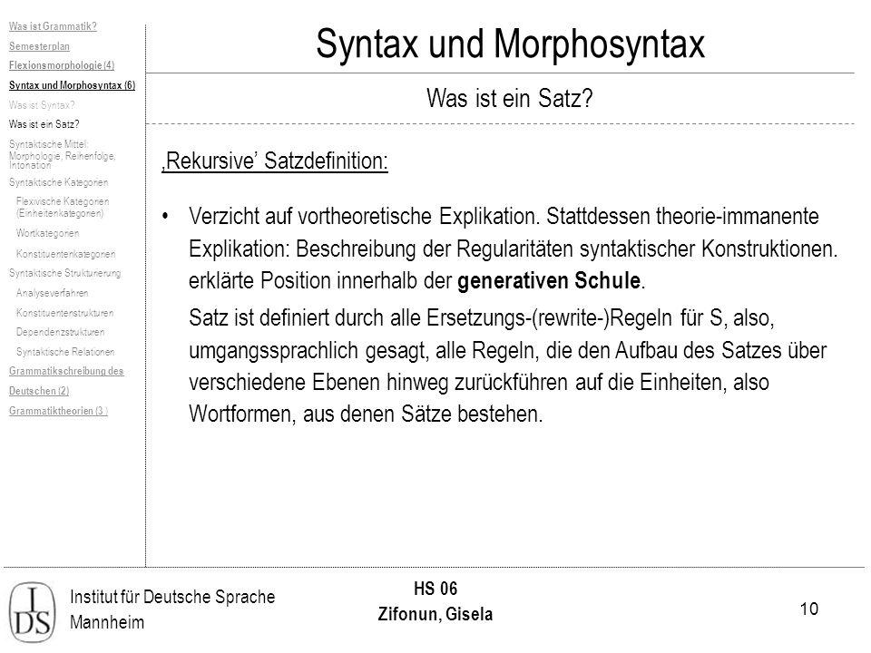 10 Institut für Deutsche Sprache Mannheim HS 06 Zifonun, Gisela Syntax und Morphosyntax Was ist ein Satz? Rekursive Satzdefinition: Verzicht auf vorth