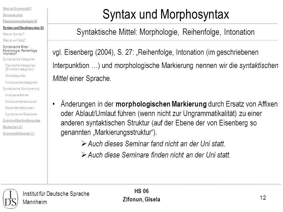 12 Institut für Deutsche Sprache Mannheim HS 06 Zifonun, Gisela Was ist Grammatik? Semesterplan Flexionsmorphologie (4) Syntax und Morphosyntax (6) Wa