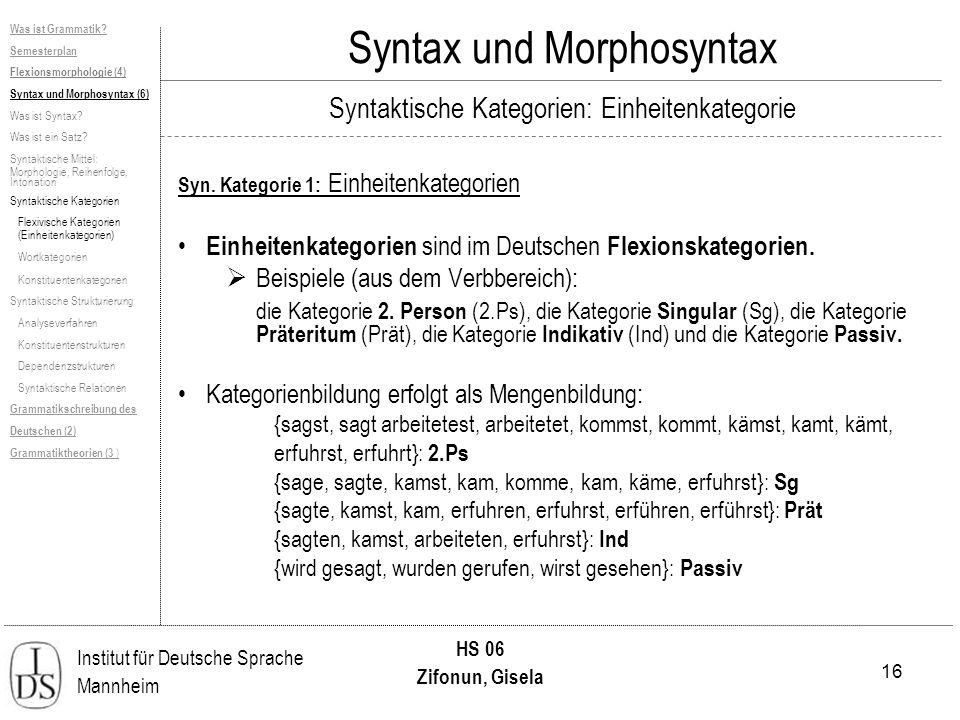 16 Institut für Deutsche Sprache Mannheim HS 06 Zifonun, Gisela Was ist Grammatik? Semesterplan Flexionsmorphologie (4) Syntax und Morphosyntax (6) Wa