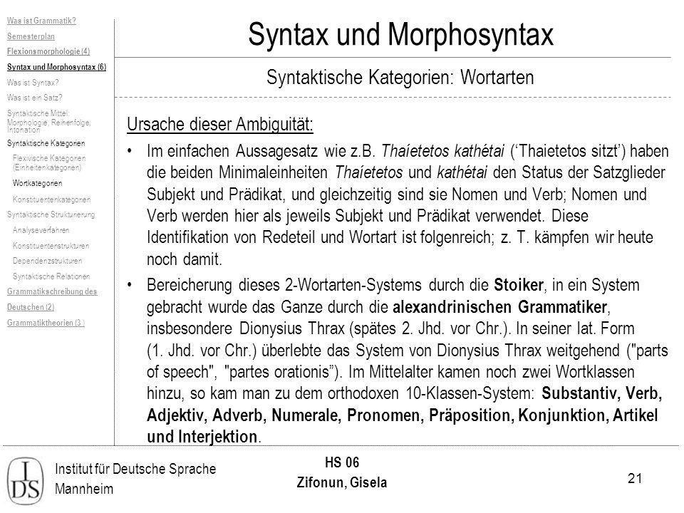 21 Institut für Deutsche Sprache Mannheim HS 06 Zifonun, Gisela Was ist Grammatik? Semesterplan Flexionsmorphologie (4) Syntax und Morphosyntax (6) Wa
