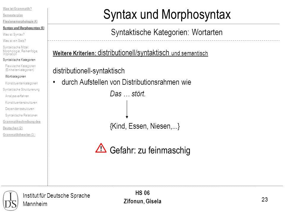 23 Institut für Deutsche Sprache Mannheim HS 06 Zifonun, Gisela Syntax und Morphosyntax Weitere Kriterien: distributionell/syntaktisch und semantisch distributionell-syntaktisch durch Aufstellen von Distributionsrahmen wie Das … stört.