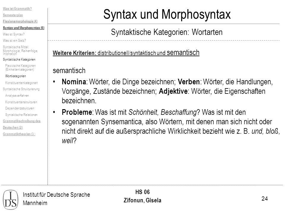 24 Institut für Deutsche Sprache Mannheim HS 06 Zifonun, Gisela Syntax und Morphosyntax Weitere Kriterien: distributionell/syntaktisch und semantisch