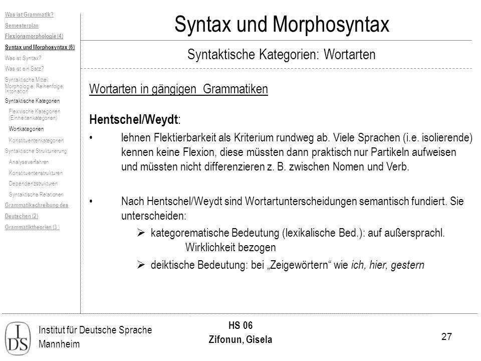 27 Institut für Deutsche Sprache Mannheim HS 06 Zifonun, Gisela Syntax und Morphosyntax Hentschel/Weydt : lehnen Flektierbarkeit als Kriterium rundweg