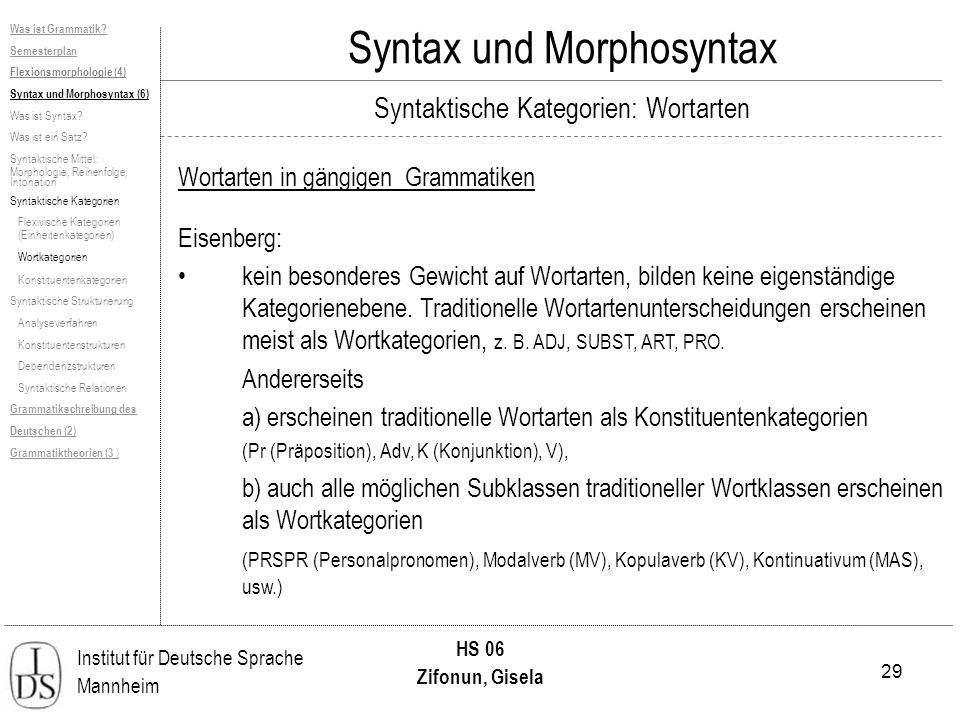 29 Institut für Deutsche Sprache Mannheim HS 06 Zifonun, Gisela Syntax und Morphosyntax Was ist Grammatik? Semesterplan Flexionsmorphologie (4) Syntax
