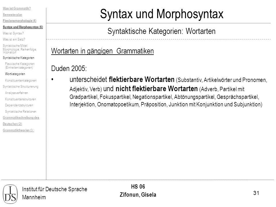 31 Institut für Deutsche Sprache Mannheim HS 06 Zifonun, Gisela Syntax und Morphosyntax Was ist Grammatik? Semesterplan Flexionsmorphologie (4) Syntax