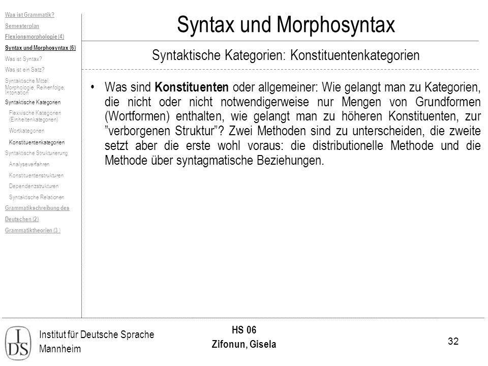 32 Institut für Deutsche Sprache Mannheim HS 06 Zifonun, Gisela Syntax und Morphosyntax Was ist Grammatik? Semesterplan Flexionsmorphologie (4) Syntax
