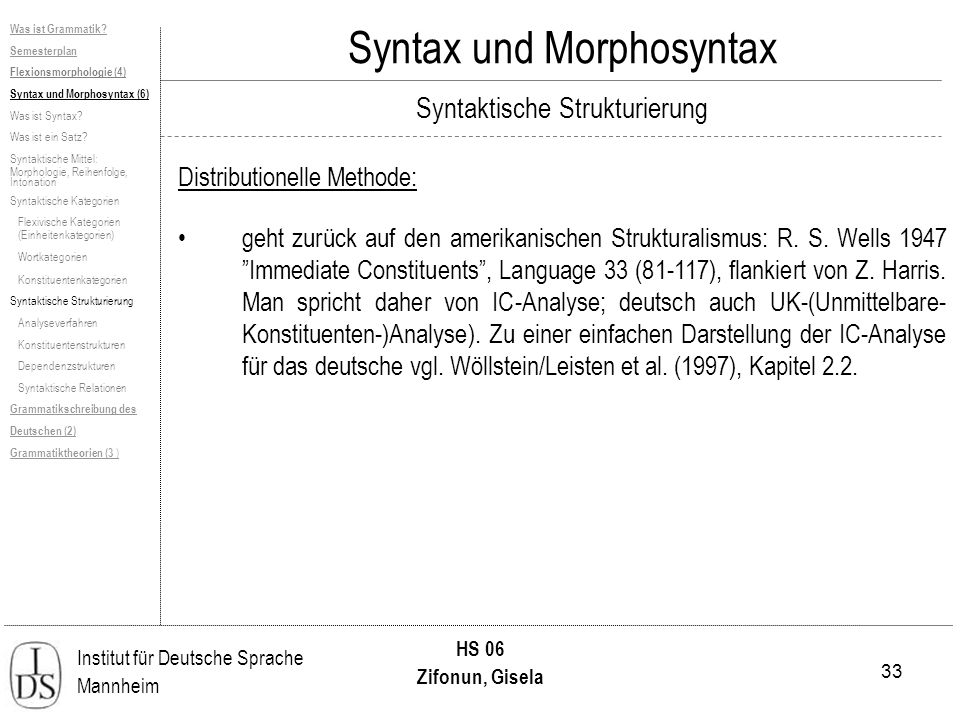 33 Institut für Deutsche Sprache Mannheim HS 06 Zifonun, Gisela Syntax und Morphosyntax Distributionelle Methode: geht zurück auf den amerikanischen Strukturalismus: R.