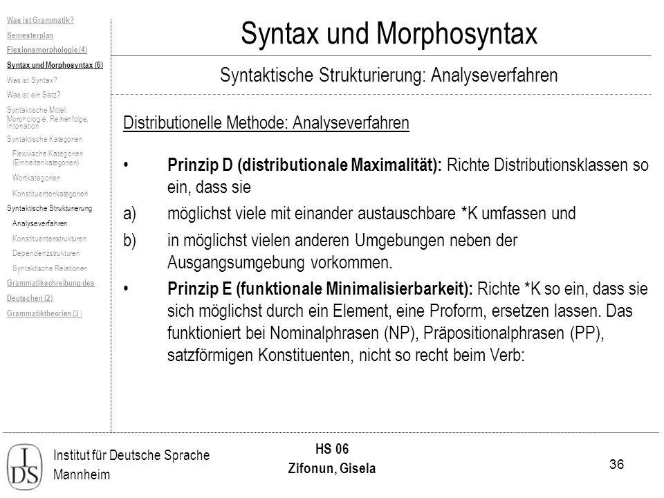 36 Institut für Deutsche Sprache Mannheim HS 06 Zifonun, Gisela Syntax und Morphosyntax Distributionelle Methode: Analyseverfahren Prinzip D (distribu