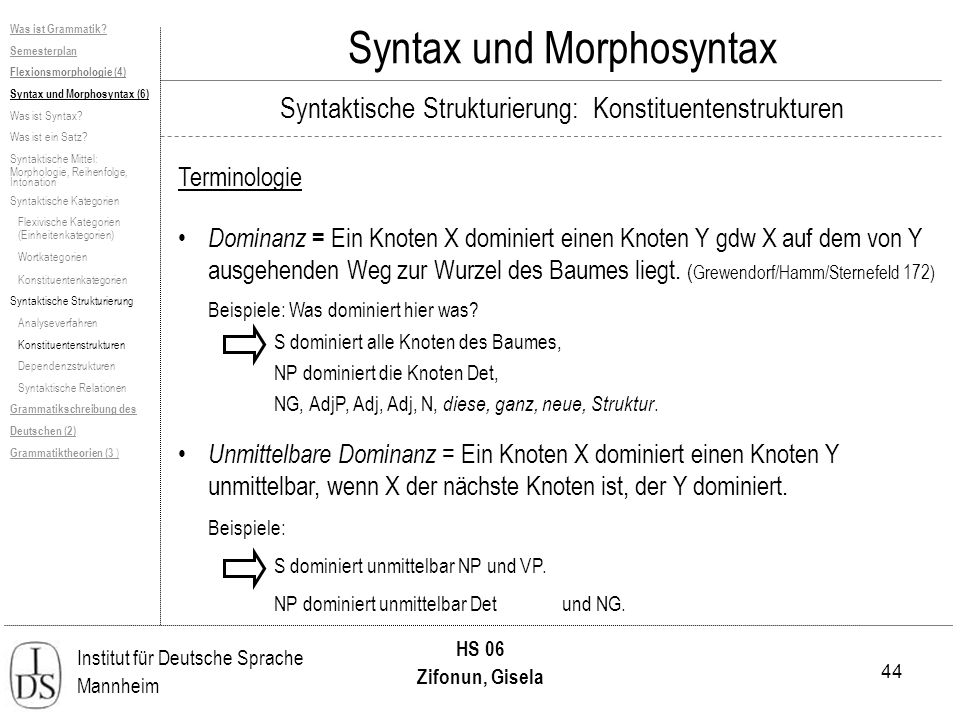 44 Institut für Deutsche Sprache Mannheim HS 06 Zifonun, Gisela Syntax und Morphosyntax Terminologie Dominanz = Ein Knoten X dominiert einen Knoten Y