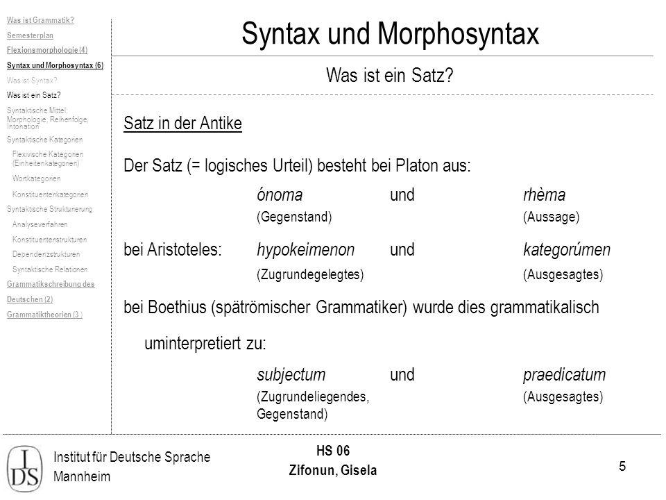 5 Institut für Deutsche Sprache Mannheim HS 06 Zifonun, Gisela Was ist Grammatik? Semesterplan Flexionsmorphologie (4) Syntax und Morphosyntax (6) Was