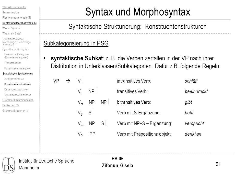 51 Institut für Deutsche Sprache Mannheim HS 06 Zifonun, Gisela Syntax und Morphosyntax Subkategorisierung in PSG syntaktische Subkat : z. B. die Verb