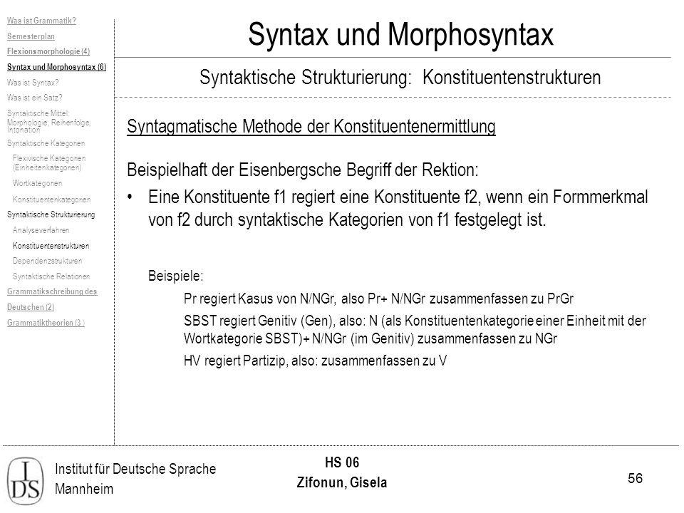56 Institut für Deutsche Sprache Mannheim HS 06 Zifonun, Gisela Syntax und Morphosyntax Syntagmatische Methode der Konstituentenermittlung Beispielhaft der Eisenbergsche Begriff der Rektion: Eine Konstituente f1 regiert eine Konstituente f2, wenn ein Formmerkmal von f2 durch syntaktische Kategorien von f1 festgelegt ist.