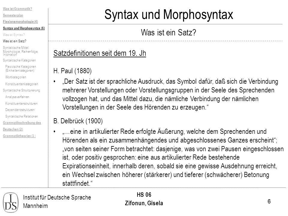 6 Institut für Deutsche Sprache Mannheim HS 06 Zifonun, Gisela Was ist Grammatik? Semesterplan Flexionsmorphologie (4) Syntax und Morphosyntax (6) Was