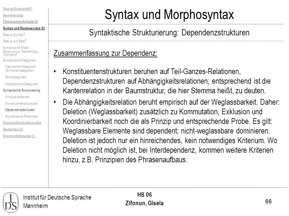 66 Institut für Deutsche Sprache Mannheim HS 06 Zifonun, Gisela Syntax und Morphosyntax Zusammenfassung zur Dependenz: Was ist Grammatik? Semesterplan