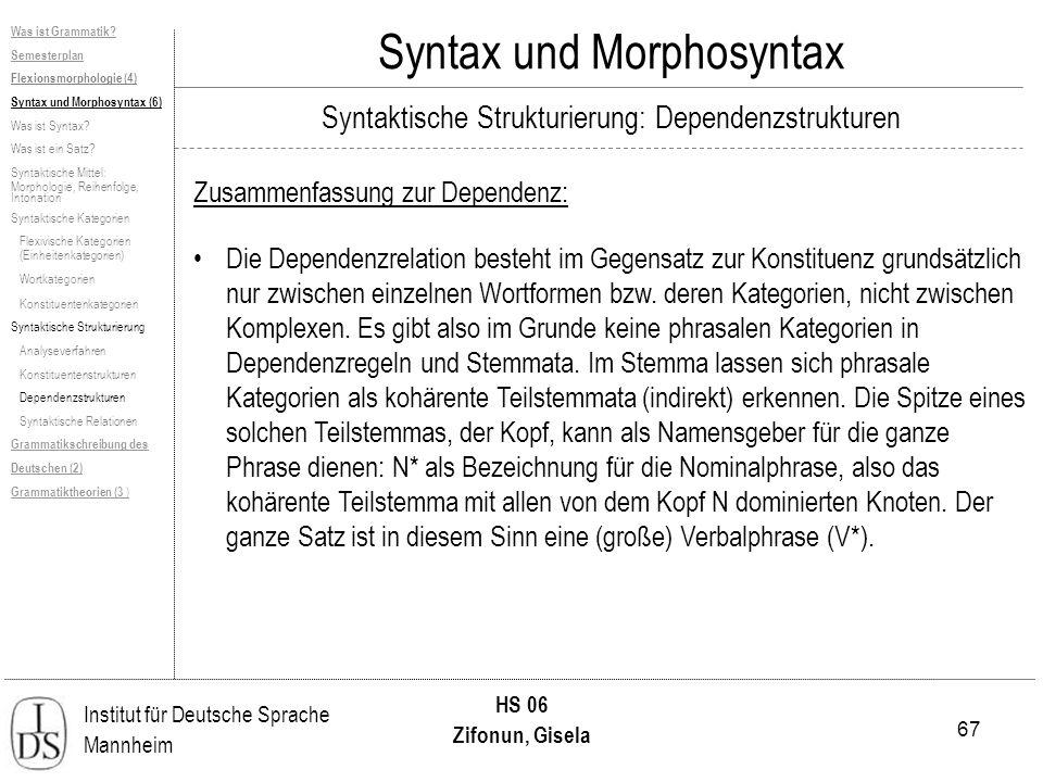 67 Institut für Deutsche Sprache Mannheim HS 06 Zifonun, Gisela Syntax und Morphosyntax Zusammenfassung zur Dependenz: Was ist Grammatik? Semesterplan
