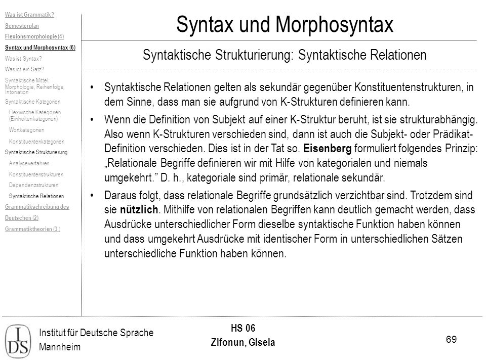 69 Institut für Deutsche Sprache Mannheim HS 06 Zifonun, Gisela Syntax und Morphosyntax Was ist Grammatik? Semesterplan Flexionsmorphologie (4) Syntax