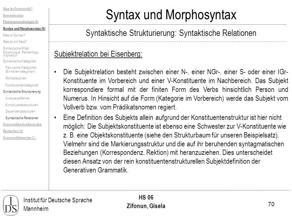 70 Institut für Deutsche Sprache Mannheim HS 06 Zifonun, Gisela Syntax und Morphosyntax Subjektrelation bei Eisenberg: Die Subjektrelation besteht zwi