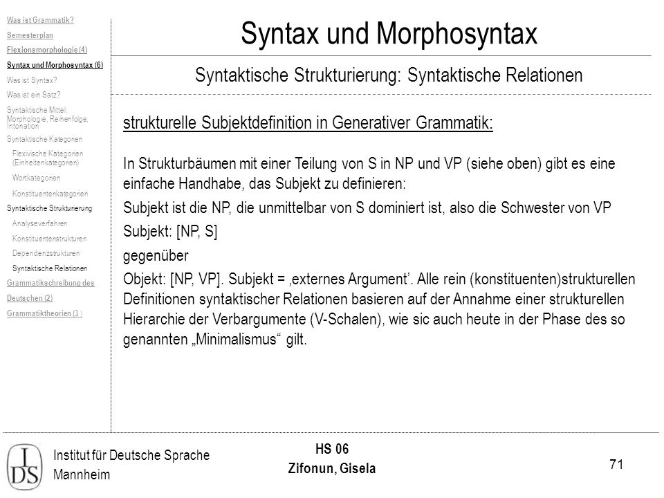 71 Institut für Deutsche Sprache Mannheim HS 06 Zifonun, Gisela Syntax und Morphosyntax strukturelle Subjektdefinition in Generativer Grammatik: In St