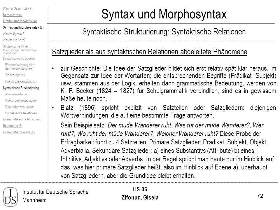 72 Institut für Deutsche Sprache Mannheim HS 06 Zifonun, Gisela Syntax und Morphosyntax Satzglieder als aus syntaktischen Relationen abgeleitete Phäno