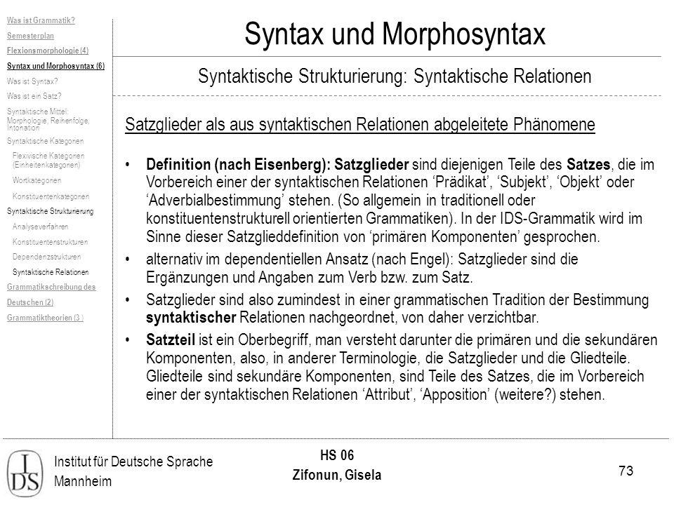 73 Institut für Deutsche Sprache Mannheim HS 06 Zifonun, Gisela Syntax und Morphosyntax Satzglieder als aus syntaktischen Relationen abgeleitete Phäno
