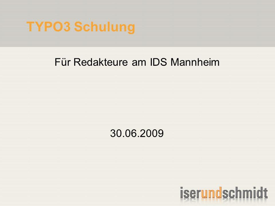 TYPO3 Schulung Für Redakteure am IDS Mannheim 30.06.2009