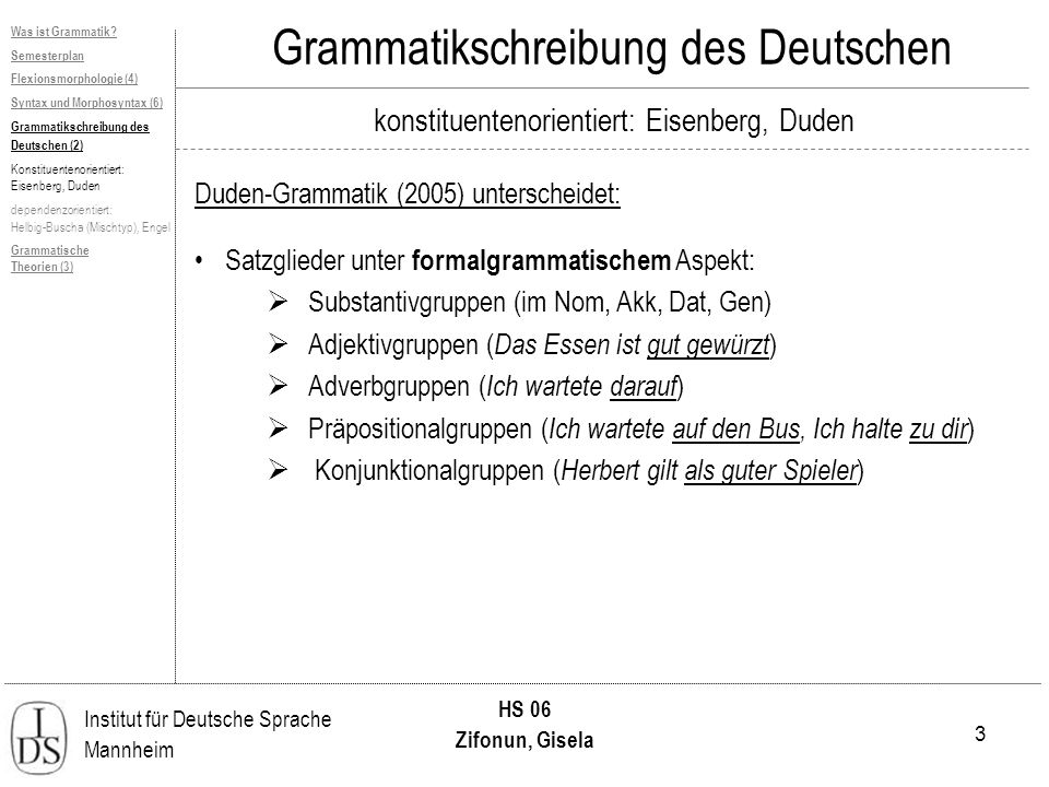 3 Institut für Deutsche Sprache Mannheim HS 06 Zifonun, Gisela Grammatikschreibung des Deutschen konstituentenorientiert: Eisenberg, Duden Duden-Gramm