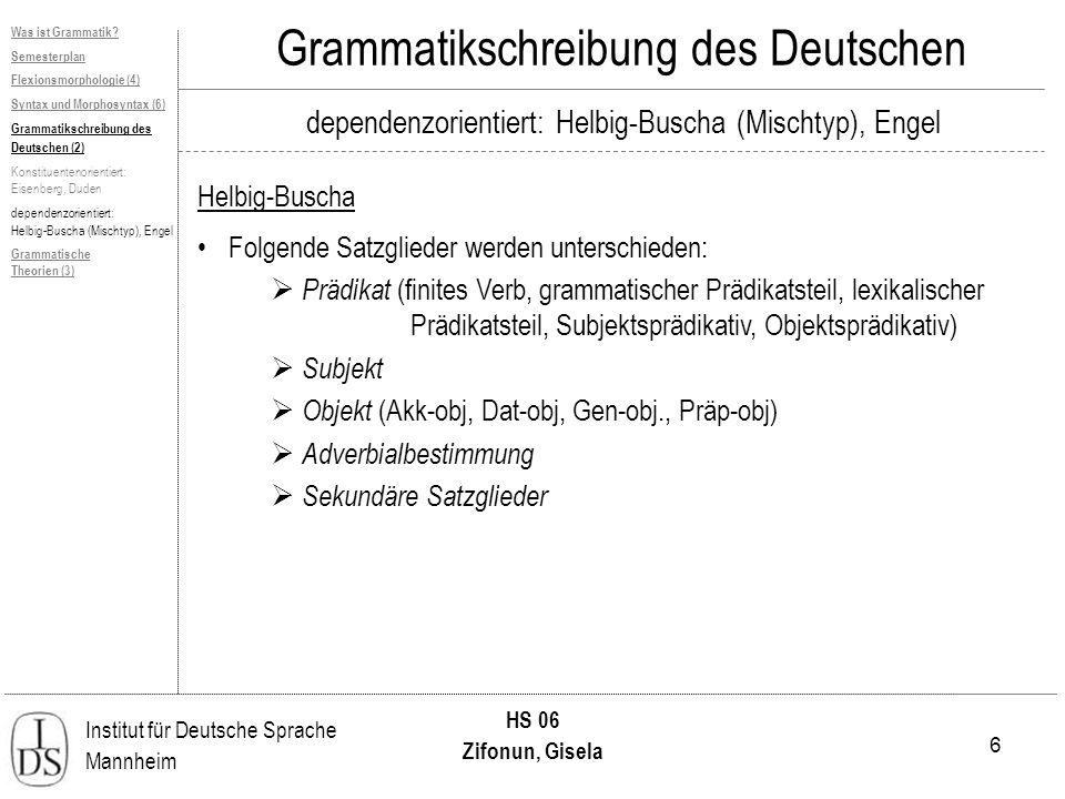 6 Institut für Deutsche Sprache Mannheim HS 06 Zifonun, Gisela Grammatikschreibung des Deutschen dependenzorientiert: Helbig-Buscha (Mischtyp), Engel Helbig-Buscha Was ist Grammatik.