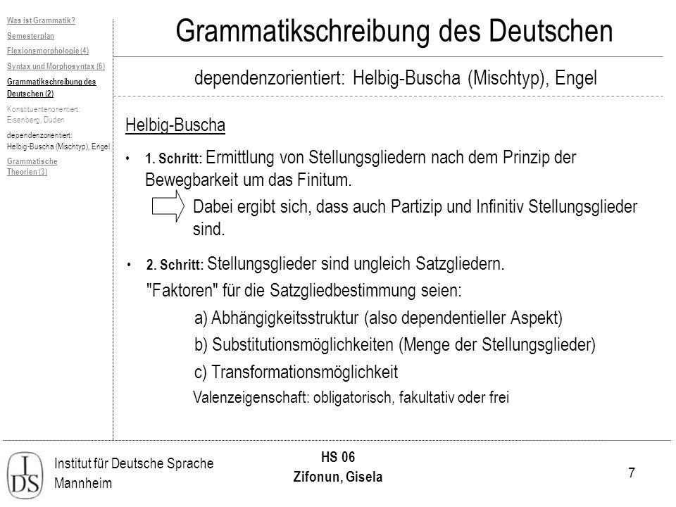 7 Institut für Deutsche Sprache Mannheim HS 06 Zifonun, Gisela Grammatikschreibung des Deutschen dependenzorientiert: Helbig-Buscha (Mischtyp), Engel Helbig-Buscha Was ist Grammatik.