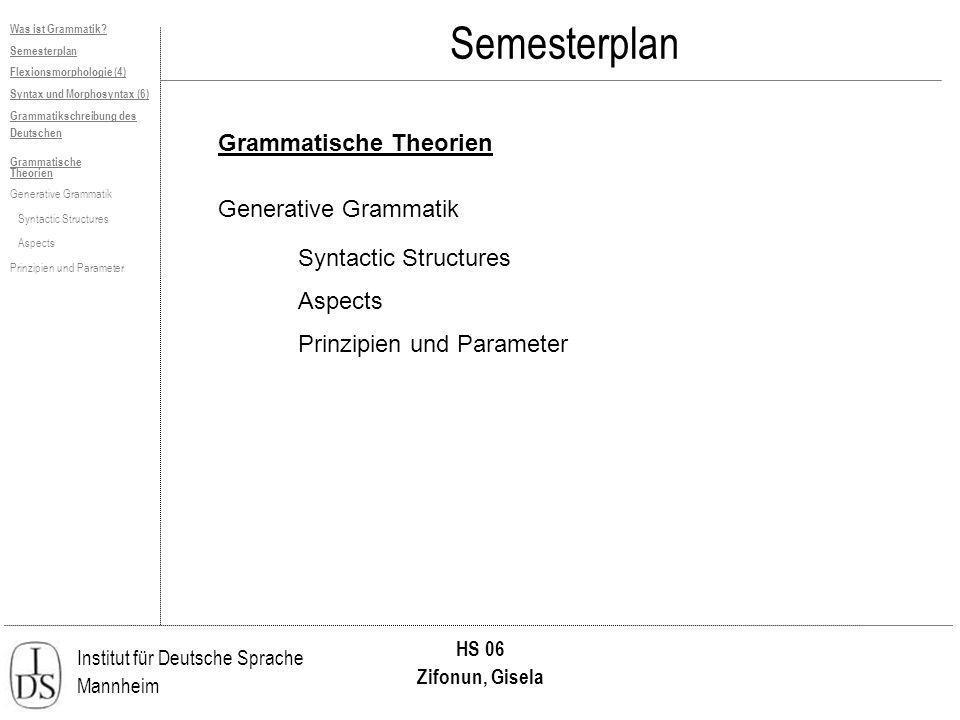 Institut für Deutsche Sprache Mannheim HS 06 Zifonun, Gisela Was ist Grammatik? Semesterplan Flexionsmorphologie (4) Syntax und Morphosyntax (6) Gramm