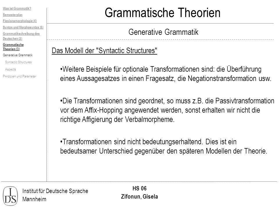 Institut für Deutsche Sprache Mannheim HS 06 Zifonun, Gisela Grammatische Theorien Generative Grammatik Was ist Grammatik? Semesterplan Flexionsmorpho