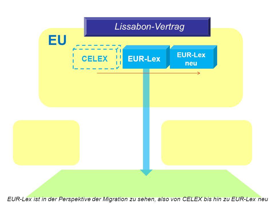 Lissabon-Vertrag EUR-Lex CELEX EUR-Lex neu EU EUR-Lex ist in der Perspektive der Migration zu sehen, also von CELEX bis hin zu EUR-Lex neu