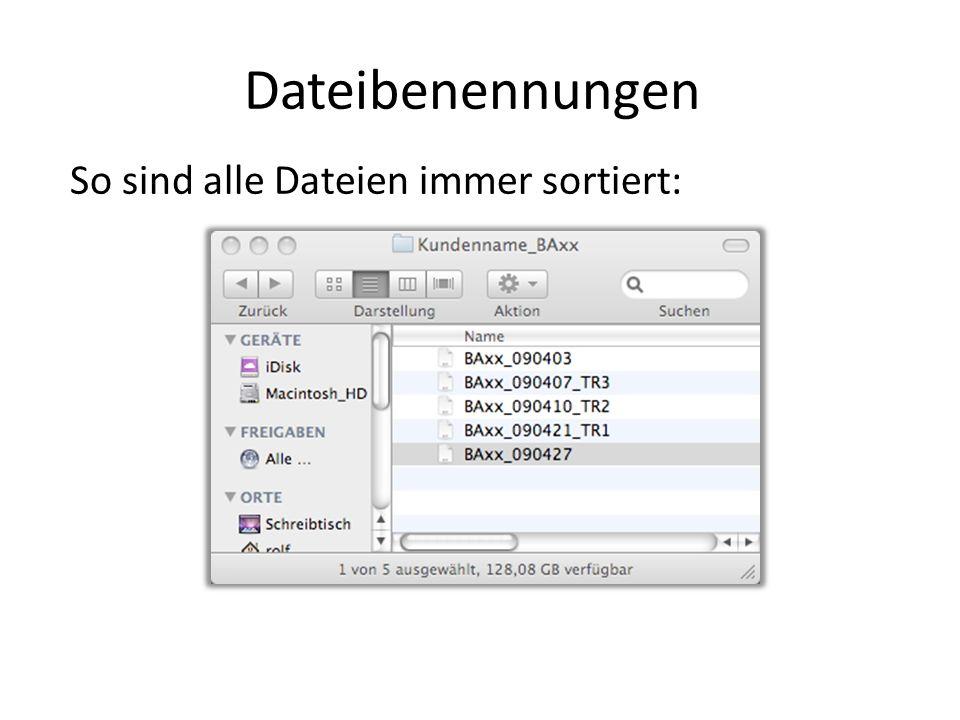 Dateibenennungen So sind alle Dateien immer sortiert: