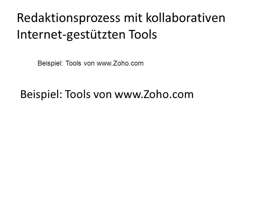 Redaktionsprozess mit kollaborativen Internet-gestützten Tools Beispiel: Tools von www.Zoho.com
