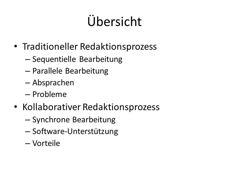 Übersicht Traditioneller Redaktionsprozess – Sequentielle Bearbeitung – Parallele Bearbeitung – Absprachen – Probleme Kollaborativer Redaktionsprozess – Synchrone Bearbeitung – Software-Unterstützung – Vorteile