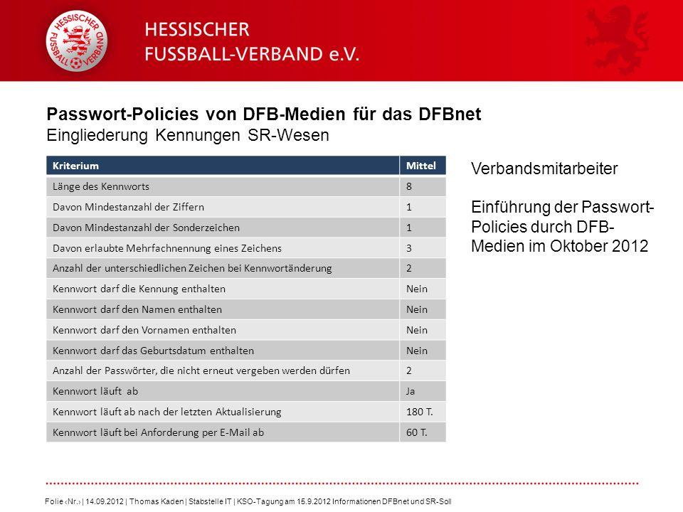 Passwort-Policies von DFB-Medien für das DFBnet Eingliederung Kennungen SR-Wesen Folie Nr. | 14.09.2012 | Thomas Kaden | Stabstelle IT | KSO-Tagung am