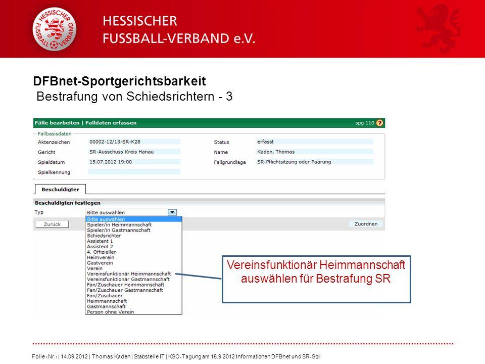 DFBnet-Sportgerichtsbarkeit Bestrafung von Schiedsrichtern - 3 Folie Nr. | 14.09.2012 | Thomas Kaden | Stabstelle IT | KSO-Tagung am 15.9.2012 Informa