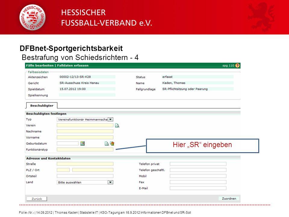 DFBnet-Sportgerichtsbarkeit Bestrafung von Schiedsrichtern - 4 Folie Nr. | 14.09.2012 | Thomas Kaden | Stabstelle IT | KSO-Tagung am 15.9.2012 Informa