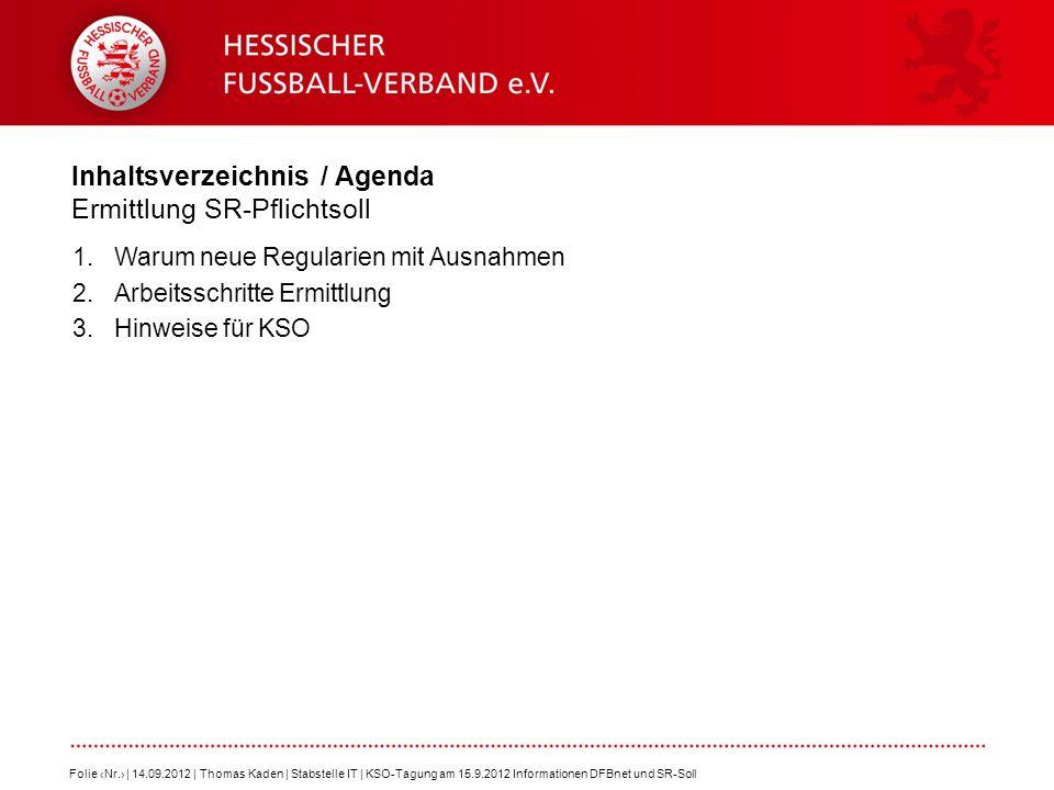 Inhaltsverzeichnis / Agenda Ermittlung SR-Pflichtsoll 1.Warum neue Regularien mit Ausnahmen 2.Arbeitsschritte Ermittlung 3.Hinweise für KSO Folie Nr.