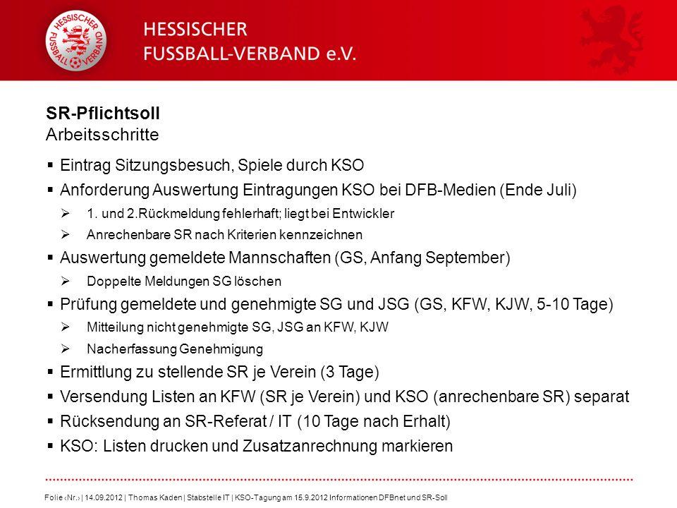 SR-Pflichtsoll Arbeitsschritte Eintrag Sitzungsbesuch, Spiele durch KSO Anforderung Auswertung Eintragungen KSO bei DFB-Medien (Ende Juli) 1. und 2.Rü