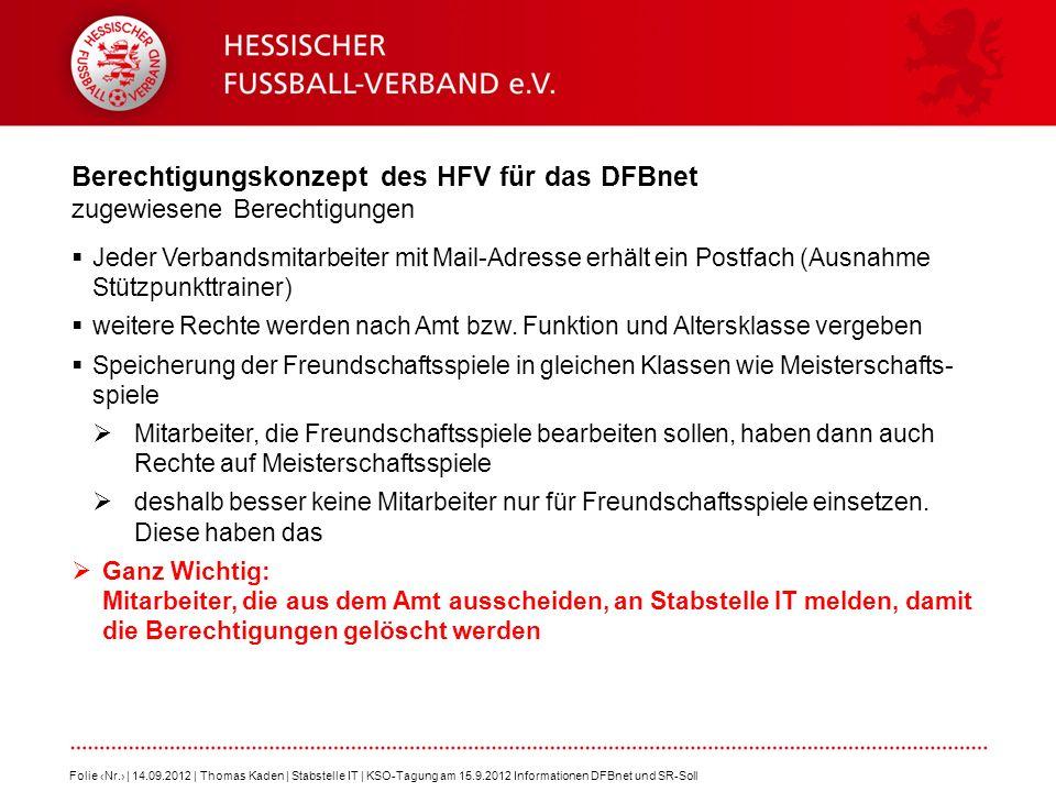 Berechtigungskonzept des HFV für das DFBnet zugewiesene Berechtigungen Folie Nr. | 14.09.2012 | Thomas Kaden | Stabstelle IT | KSO-Tagung am 15.9.2012
