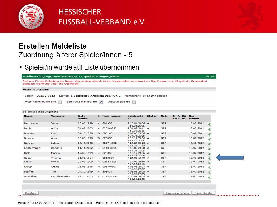 Erstellen Meldeliste Zuordnung älterer Spieler/innen - 5 Spieler/in wurde auf Liste übernommen Folie Nr. | 13.07.2012 | Thomas Kaden | Stabstelle IT |